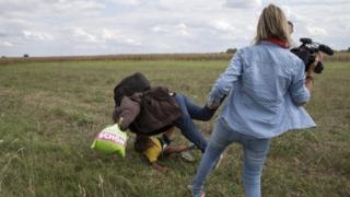Petra Lazslo'nun mülteciye çelme takma anı