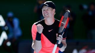 Kyle celebrating on court at the Australian Open