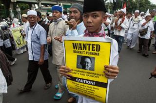 Protesters march on 4 November 2016 in Jakarta, Indonesia.