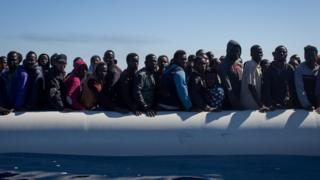 Migrants rescued trying to reach Italy (file image)