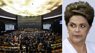 A composite image showing Brazil's lower house and President Rousseff