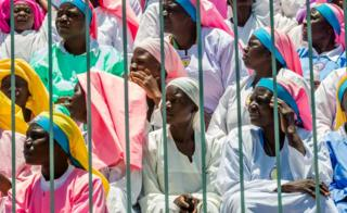 Zimbabwean worshippers and congregants from various indigenous church denominations listen to Zimbabwe first lady addressing a rally on November 5, 2017 in Harare