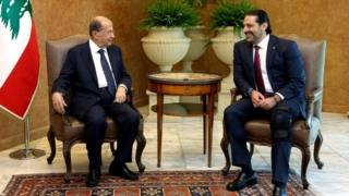 Lebanese President Michel Aoun meets with Lebanon's Prime Minister Saad al-Hariri at the presidential palace in Baabda, Lebanon, on 28 September 2017