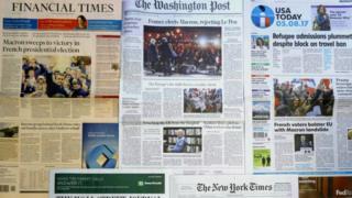 Газеты сообщают об избрании Эммануэля Макрона