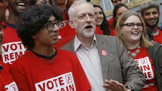 "Jeremy Corbyn, Leader of Britain""s Labour Party poses for a photograph with young supporters at the launch of ""Labour In for Britain"", ahead of June""s EU referendum, in London, 10 May 2016"