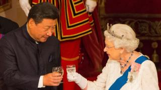 The Queen with Chinese President Xi Jinping at a state banquet at Buckingham Palace