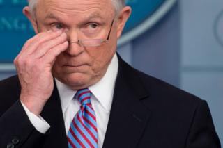 Jeff Sessions at a White House briefing on 27 March, 2017.