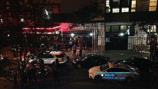 Police seal of area around Irving Plaza in New York. 25 May 2016