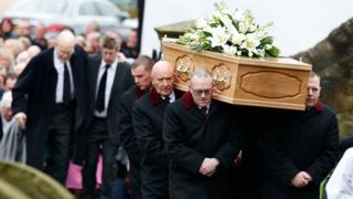 he coffin of TV agony aunt Denise Robertson is carried into Sunderland Minster for her funeral