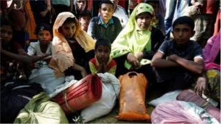 বাংলাদেশের কুতুপালং শিবিরে পালিয়ে আসা একটি রোহিঙ্গা পরিবার
