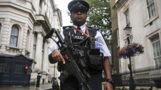 Londra sokaklarında elinde silahıyla bir polis memuru görülüyor.