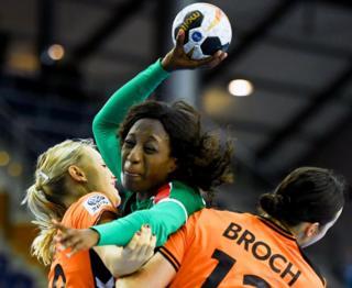 Cameroonian handball player Vanessa Djiepmou Medibe competing in Leipzig, Germany - Tuesday 5 December 2017