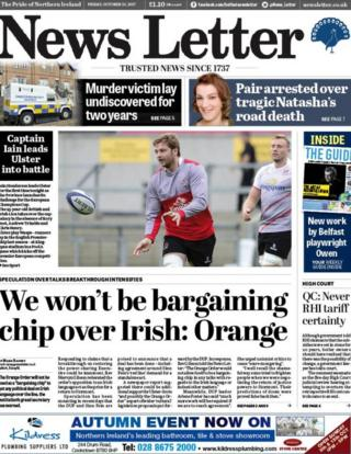 Belfast News Letter front page Friday 13 October