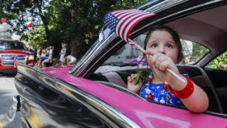 People participate in the Avondale Estates 4th of July Parade to celebrate the US Independence Day holiday in Avondale Estates, Georgia, USA, 04 July 2017
