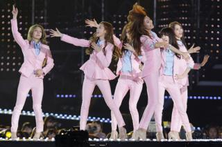 South Korean cocktail organisation Girls Generation perform on theatre during a 20th Dream Concert on 7 Jun 2014 in Seoul, South Korea.