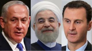 इसराइल के प्रधानमंत्री बिन्यामिन नेतन्याहू, ईरान के राष्ट्रपति हसन रूहानी और सीरिया के बशर अल-असद