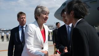 Theresa May meets Japanese dignatories