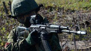 Учения российских военных на случай проникновения террористов на объект минобороны