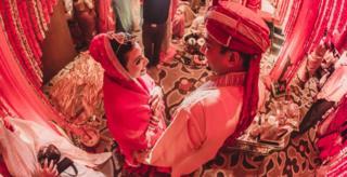 Garima and Kumar at their wedding