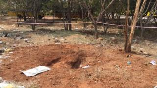 The meteorite left a crater inside the campus of Bharathidasan Engineering College in Vellore