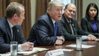 US President Donald J. Trump meets with a bipartisan group of congress on tax reform