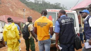 Relief effort team from the World Health Organization
