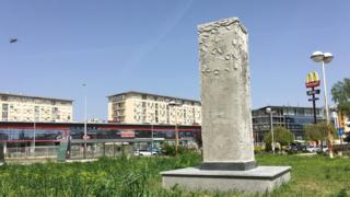 Betonski stub na kome je bila postavljena glava Jurija Gagarina