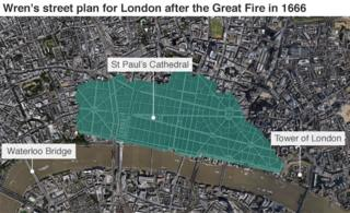 Map showing how Sir Christopher Wren's plans for London after the Great Fire in 1666 would look in present day London