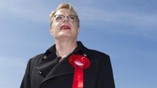 Eddie Izzard with a Labour rosette