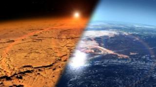 (ภาพจากฝีมือศิลปิน) ดาวอังคารในปัจจุบันหนาวเย็นและแห้งแล้ง (ซ้าย) ต่างจากสภาพอากาศเมื่อหลายพันล้านปีก่อน (ขวา)