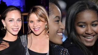 Jenna y Barbara Bush y Malia y Sasha Obama