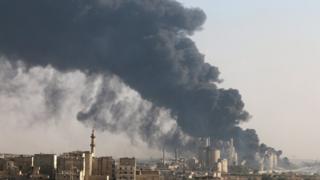 Halep'ten yükselen dumanlar