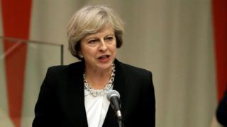 Theresa May at the UN headquarters in New York