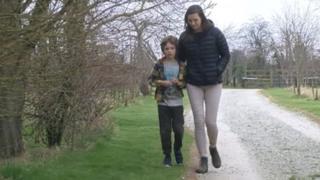 Georgia Rennie and her son