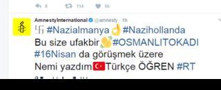 Amnesty International-n Twitter hesabında dərc olunan mesaj