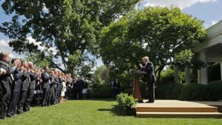 President Donald Trump receives a standing ovation while announcing his decision for the United States to pull out of the Paris climate agreement in the Rose Garden at the White House June 1, 2017 in Washington, DC.