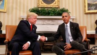 Cənab Obama və yeni seçilmiş prezident seçkidən iki gün sonra Ağ Evdə görüşüb
