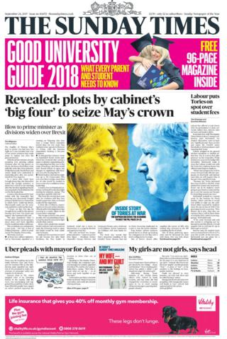 Sunday Times front page