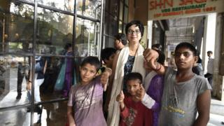 Children outside the Shiv Sagar restaurant