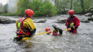 Training on the River Dee, Llangollen - members of three Gwynedd rescue teams