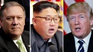 Mike Pompeo's (left), Kim Jong-un and Donald Trump