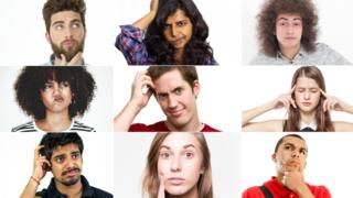 A composite image of young adults in thinking poses