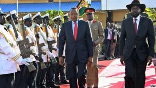 Rais Uhuru Kenyatta na mwenzake wa Sudan Kusini salva Kiir