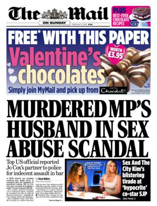The Mail on Sunday front page