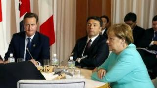 From left to right: British PM David Cameron, Italian PM Matteo Renzi and German Chancellor Angela Merkel. Photo: May 2016