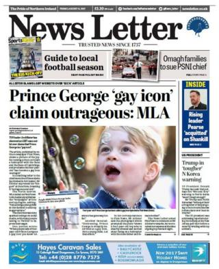 The front page of Friday's News Letter