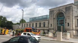 Fire engines outside SeaCity Museum