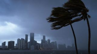 Miami skyline as outer bands of Irma reach southern Florida - 9 September