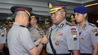 AKBP Semmy Ronny Thabaa saat dilantik sebagai Kapolres Tegal Kota, Polda Jawa Tengah, yang sebelumnya menjabat Kapolres Nabire.