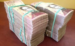 Pile of Venezuelan banknotes worth $100